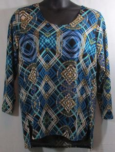 Ava Gray Plus Size Blue Black and White Blouse Size XL #AvaGray #Blouse
