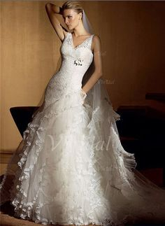 Wedding Dresses - $191.09 - A-Line/Princess V-neck Court Train Tulle Lace Wedding Dress (00205001788)