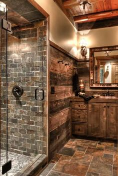You would feel homey when you have a farmhouse small bathroom in your beloved house. All part of farmhouse bathroom decor ideas. These farmhouse small bathroom ideas will fit on your needs. Rustic Bathroom Designs, Rustic Bathroom Decor, Lodge Bathroom, Rustic Decor, Rustic Design, Log Cabin Bathrooms, Log Cabin Kitchens, Rustic Colors, Rustic Flowers