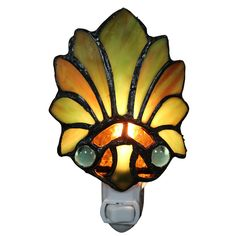 Warehouse Of Tiffany Farrah Lily Glass 6 Inch 1 Light Plug In Wall