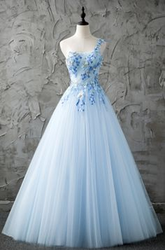 Elegant Prom Dresses, Fresh blue tulle one shoulder A-line long prom dress with appliques Shop for La Femme prom dresses. Elegant long designer gowns, sexy cocktail dresses, short semi-formal dresses, and party dresses. Pretty Prom Dresses, Prom Dresses Blue, Ball Dresses, Beautiful Dresses, Evening Dresses, Girls Dresses, Formal Dresses, Dress Prom, Elegant Dresses