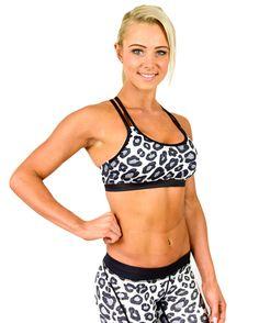 Womens Sports Bra - Snow Leopard.
