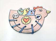 Paper hen  Tyúkanyó papírból - színező-kivágó-fűzögető játék