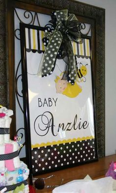 Bumble Bees Baby Shower Party sign! See more party planning ideas at CatchMyParty.com!
