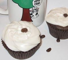 Espresso Fudge Cupcakes: A chocolate cupcake made with dark chocolate chips and espresso powder and topped with a chocolate covered coffee bean.  What a perfect pick-me-up!