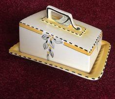 Antique Burleigh Ware Covered Cheese Butter Dish Plate - Zenith 4719 Art Deco | eBay July 2016. BIN GBP75 list & sold