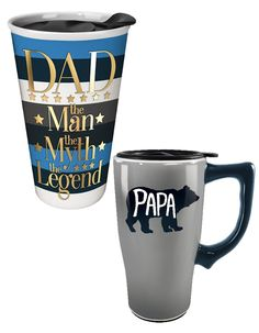 10 oz and 18 oz Ceramic Travel Mugs by Spoontiques Great Gifts For Guys, Gifts For Boys, Travel Mugs, Fathers Day, Ceramics, Tableware, Boy Gifts, Dinnerware, Dishes
