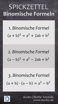 Binomische Formeln… – - Kids education and learning acts Math Genius, Physics And Mathematics, Maths Puzzles, School Hacks, Formulas, Math Resources, Study Tips, Cheat Sheets, Good To Know