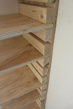 Use this idea for shelves in the garage. Keep to 4 ft for strength. Small storage.