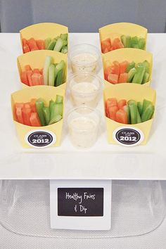 #Veggies. #GraduationParty Ideas #Healthy Option. Fill container with sticks of carrots, celery, red peppers, or the veggies of your choice. Serve with light ranch dressing on the side.