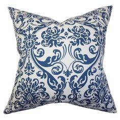 Bring a pop of style to your sofa or favorite reading nook with this eye-catching cotton pillow, showcasing a scrolling floral print.     ...