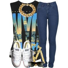A fashion look from April 2013 featuring Dr. Denim jeans, Ben-Amun necklaces and Ray-Ban sunglasses. Browse and shop related looks.