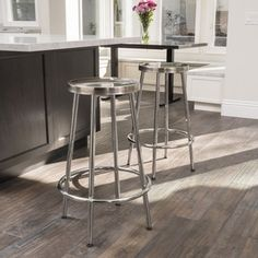 Mayworth Chrome Barstool (Set of 2) by Christopher Knight Home