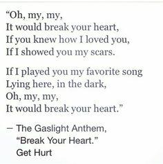 Break Your Heart lyrics by The Gaslight Anthem. Brian Fallon, music, Get Hurt