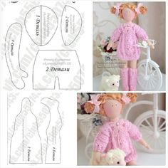 Dolls in a piece – Artofit Doll Clothes Patterns, Doll Patterns, Felt Dolls, Baby Dolls, Fabric Doll Pattern, Fox Toys, Pink Doll, Fabric Toys, Sewing Dolls
