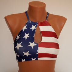 BS1352 PADDED Open neck American flag high neck halter top-Swimwear-Swimsuit-Bathing suit-Flag bikini-4th July-Choose your color-XS-S-M-L-XL