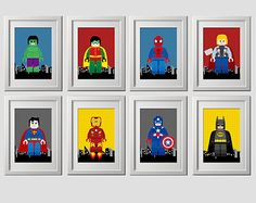 set of 8, LEGO superhero wall art, digital files, instant download,  8x10 inch prints on 8.5x11 inch page PDF file