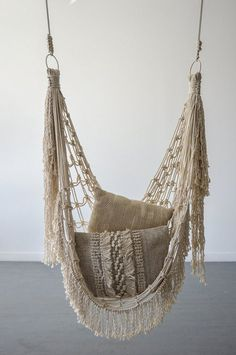 hanging chair Because why not have a hammock chair in your house? Made with natural cotton rope Will provide rope to hang chair with ***All shipping dates are estimated. Pieces are made upon order, not premade. Diy Hammock, Hammock Chair, Swinging Chair, Hammocks, Chair Cushions, Chair Pads, Crochet Hammock, Upholstered Chairs, Swivel Chair