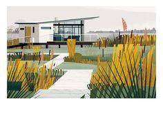 Boat House - Sergeant Paper editions Giclee print sur papier Hahnemulhe German Etching 310 gr   50x70 cm   Edition limitée à 30 ex - 90€ #cabins #cruschiform #taschen #boathouse #nature #architecture #design