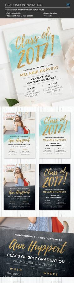 Minimalist Graduation Invitation  Template Postcard Design And