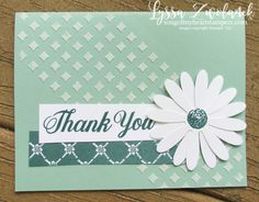 Daisy Punch Delight thank you class of month club Lyssa Stampin Up embossing paste Stampin Up Catalog 2017, Punch, Daisy, Handmade Thank You Cards, Embossed Cards, Card Making Techniques, Scrapbook Embellishments, Stamping Up, Flower Cards
