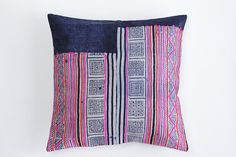 Boho Bohemian Rare VINTAGE HMONG Textile Batik Embroidered Ethnic Textile Striped Pink & Blue White Nautical Pillow Case