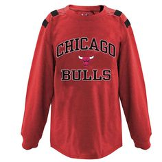 Chicago Bulls Majestic Big & Tall Cracked Long Sleeve T-Shirt - Red