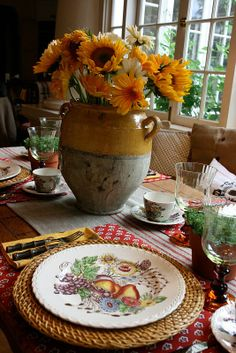 Floral Arrangement for Fall ~ sunflowers and mums in old pottery urn