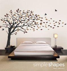 Vinyl Tree Wall Decals | Vinyl Wall Art Decal Sticker - Blowing Leaves Tree - LARGE