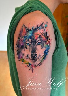 Watercolor wolf Tattooed by Javi Wolf