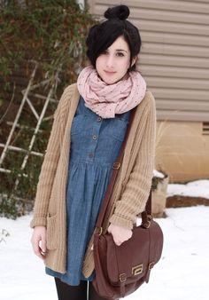 denim dress | fall and winter casual