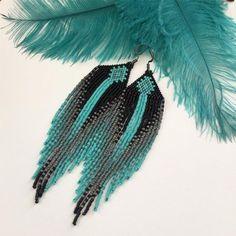 Beaded earrings 390898442658396192 - Teal Orchids Beaded Fringe Earrings Source by Seed Bead Jewelry, Bead Jewellery, Seed Bead Earrings, Fringe Earrings, Diy Earrings, Hoop Earrings, Seed Beads, Seed Bead Art, Black Earrings
