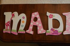 Hand Painted Nursery Letters -- Girl Jungle Theme