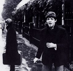 October 1964. Ringo and Paul outside London Zoo. The Beatles sometimes ate in the zoo's cafeteria since it is near Abbey Road Studios and quiet during the winter months. Photo by Robert Freeman