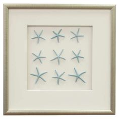 Featuring rows of starfish against a solid background, this framed and matted wall decor brings coastal-chic style to your entryway or breakfast nook.