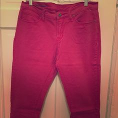 Pink skinny Capri jeans Pre loved cute pink Capri jeans. These are slim fit and in great condition. I'm 5'9 and these hit mid-calf on me. Size 14. Pants Ankle & Cropped