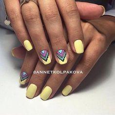 Beautiful summer nails, Bright summer nails, Drawings on nails, Ethnic nails, Manicure by summer dress, Medium nails, Nail designs with pattern, Nails ideas 2017
