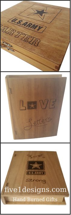 Personalized Army Keepsake Box - Army Love Letters Book Like Keepsake Box  -- Save your keepsakes from your soldier in a hand burned keepsake box or give it as a gift to the soldier in your life.