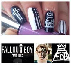 I fell in love with these nails bc I'm a fall bout boy fan Emo Nail Art, Fall Nail Art, Cute Nail Art, Cute Nails, Pretty Nails, Fall Out Boy Concert, Hair And Nails, My Nails, Band Nails