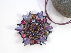 Amethyst Beaded Flower Pendant  Swarovski by BeauBellaJewellery #jewelry #necklace #flower #summer #floral #purple #handmade #etsy #beaubella