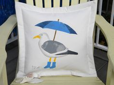 Seagull with umbrella 20x20 indoor outdoor galoshes by crabbychris, $41.00