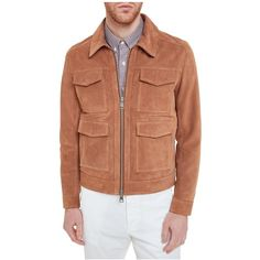 Ami Suede Jacket (€895) ❤ liked on Polyvore featuring men's fashion, men's clothing, men's outerwear, men's jackets, tabacco, mens suede leather jacket, mens zip jacket and mens suede jacket