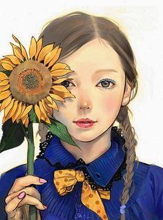 #girl #sunflower #illustration