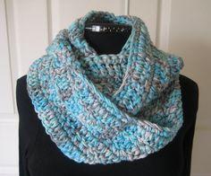 Crochet Infinity Scarf Cowl Loop Scarf Handmade by PeppersAttic