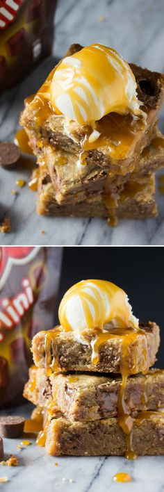 Fudgy, gooey Peanut Butter Caramel Blondies. Because with lots of peanut butter, Rolo candies, caramel sauce, no mixer & only 1 bowl - you need to make these!