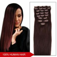 18 Inch 7pcs Clip-in Human Hair Extensions Straight (#99j)