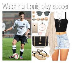 """Watching Louis play soccer #sunnyday"" by mona-h0ran ❤ liked on Polyvore featuring Element, MANGO, Wet Seal, Ray-Ban, Valentino, Chanel and Essie"