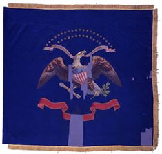 125th Regiment, NY Volunteer Infantry Regimental Color.  The New York State Battle Flag Collection includes one painted silk regimental color carried by the 125th Regiment. The color features the Arms of the United States complete with 34 gold painted stars in two arcs (21 over 13). The lower ribbon, with lowered center section, lacks any ornamentation and does not include the unit's designation.