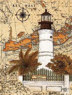Donna Elias Limited Editions, CoasterStone, Prints and Mugs . Vintage Travel Posters, Vintage Postcards, Vintage World Maps, Decoupage Vintage, Decoupage Ideas, Lighthouse Pictures, Lighthouse Painting, Paisley Art, West Art