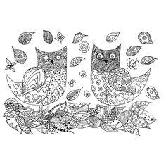 Leuk voor kids kleurplaat ~ twee uilen